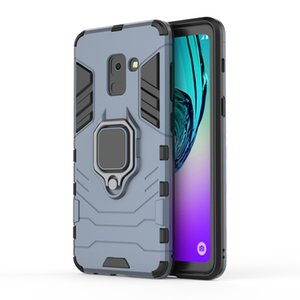 2 in 1 Car Stand HolderFinger Ring Phone Case Hard Phone Case for Samsung A8 2018 Armor Case Back Cover