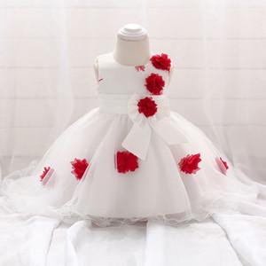 Niñas que se arrastran vestido de novia de niña de flores vestido para niños nuevo esmoquin luna llena vestido de lavado de una generación
