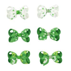 Irish St. Patricks Day Barrettes enfants filles Irlande Shamrocks diamant cheveux Griffes enfants fil Clover Bow Barrettes Accessoires pour bébé 06