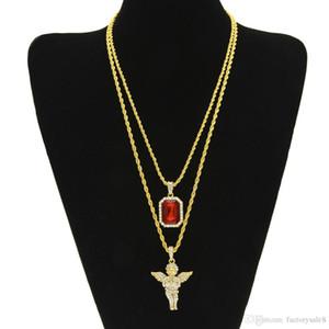 Mens Iced Out Rubin Halskette Set Marke Micro Ruby, Engel, Jesus, Flügel Anhänger Hip Hop Halskette Männlichen Schmuck Geschenk Großhandel