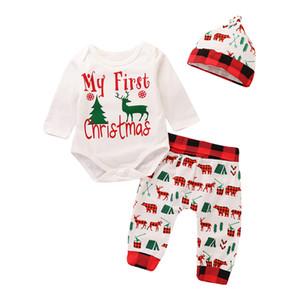 2020 bébé nouveau-né Tenues de Noël Ensembles tout-petits nourrissons Mes premières lettres de Noël Barboteuses imprimés + Pantalons + Cap 3pcs Costumes enfants Vêtements