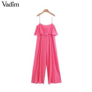 Vadim women casual chiffon solid pleated jumpsuits ruffles sleeveless backless rompers female stylish playsuits KA799