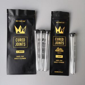 West Coast Cure 3PCS 1PCS CURADO JUNTAS BAG + PLASTIC tubos de envase de embalaje tubular 2020 moonrock Preroll Pre enrollada