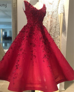 Red Pretty Embroidery Beaded A Line Cocktail Dresses Elegant 3D Floral Lace Applique Tea Length Formal Short Party Evening Gowns