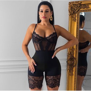 Hollow Out Backless Sexy Jumpsuit Women Spaghetti Straps See Through Mesh Splice Lace Playsuit Party Club Wear Rompers