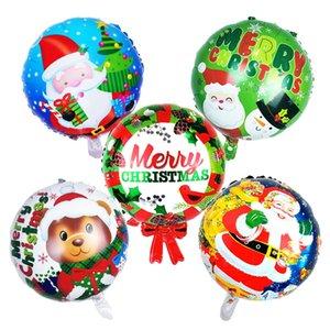 선물 파티는 45x45cm 크리스마스 풍선 어린이 크리스마스 파티 장식 산타 눈사람 장난감 어린이 만화 원형 풍선 DH 공급