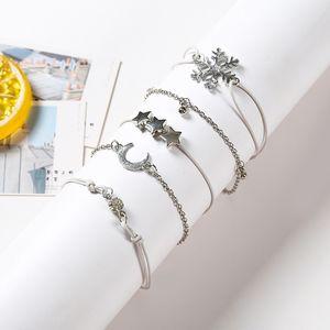 5pcs / Set Fashion Punk Silver Chain Moon Snowflake Crystal Geometry Bracelet Set Women Charm Beache A Direct Sale