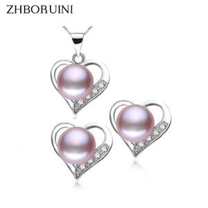 Regalo dei monili delle donne ZHBORUINI moda collana di perle d'acqua dolce naturale perla 925 gioielli in argento Sterling Love Set Pendant per