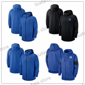 Duke Blue Devils Tişörtü On-Kortu Basketbol Oyuncu Showtime Sideline Performans Tam Zip Hoodie Erkek Üniversite Sporları Hoodies 2018-2019