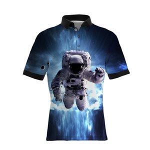 19SS Yeni Stil Astronot Desen Baskı erkek Casual Polo Gömlek Sıcak Satıcılar BÜYÜK BOYUTU Erkek Tasarımcı T Shirt Gevşek Sürüm