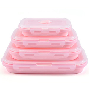 Silicone dobrável Lunch Box Fruit Food Storage Container Outdoor portátil Camping Picnic Lunch Box Retângulo Food Fruit VT0454 Titular