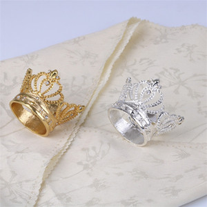 Golden Silvery Color Set With Diamonds Napkin Ring Alloy Imperial Crown Rings Home Furnishing Ornament New Arrival 12sd L1