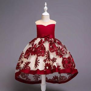 Çocuklar düğün Elbise dantel çiçek nakış Kız Elbise çocuklar elbise kız Formal Elbise Kız Parti Elbise çocuklar A4377 elbise