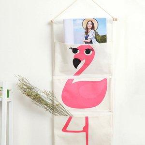 Wall Closet Hanging Organizer Bag 30*65cm Cartoon Animal Cute Sundries Storage Container 3 Pockets Wall Mounted Toy Storage Bag DBC VT0503