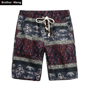 Bermuda Shorts Brother Wang Marque 2019 été Nouveaux Mode Casual Casual Loose Straight Floral Pattern Beach Shorts Homme 5135 Y190422