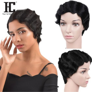 Court Lace Front perruques de cheveux humains brésiliens doigt vague perruque vagues de l'océan Pixie Cut Perruques Dentelle humaine Partie Perruques HC 6525B