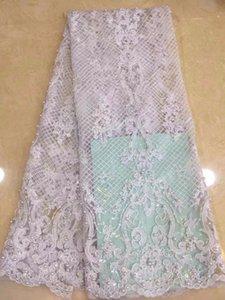 Nueva llegada tela de encaje africano 2019 tela de encaje de alta calidad para las mujeres dres telas de encaje de malla francesa con perlas perlas NRE003