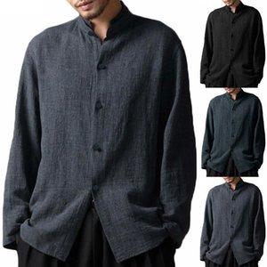 Hommes manches longues col stand Rétro Chemise style chinois coton lin Hauts bouton Shirts