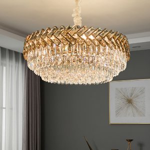 Crystal chandelier lighting for villa living room bedroom dining room new luxury contemporary led pendant lights round hanging lamps