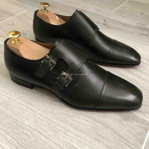 Luxuious inferior rojo inferiores rojos Zapatos Oxford vestido planas Mortimer mocasines los hombres de Negro de cuero genuino del dedo del pie cuadrado de la manera Calzado de boda Par