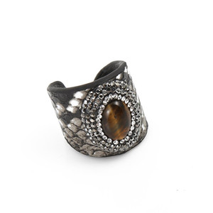 10 Pcs Silver Plated Leather Tiger Eye Stone Resizable Finger Ring Lapis Lazuli for Gift Fashion Jewelry