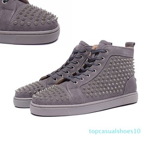 2020 red bottoms designer shoes men women fashion luxury rivet glitter sneakers for party wedding Genuine Leather studded shoes t10