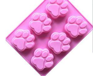 100 unids / lote ventas al por mayor molde de silicona 6 celosías huella catlike jabón hecho a mano molde moldes de pastel de silicona
