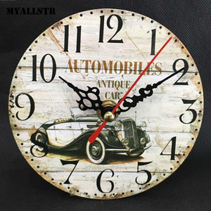 Creative Retro DIY Wall Clock Frameless Round Analog Casual Clock Home Office Multicolor Decor