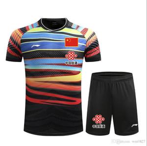 T-shirt dos badminton, roupas de competição, forro de fatos badminton camisas + calções,camisola de ténis de mesa com bandeira chinesa