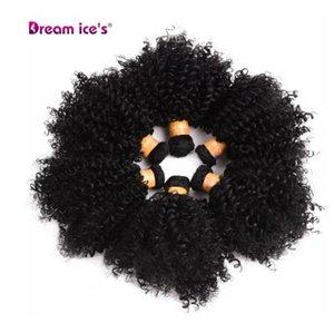 Bouncy Curly Synthetic Weave 6 Pcs / lot Naturel Cheveux Court Welf Bundles Cheveux Noirs Tissage 6 Pouces