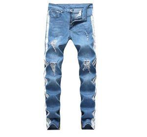 Erkek Jeans Moda Sokak Stili Kalem Pantolon Uzun Pantolon Hommes Pantalones Tasarımcı Pantolon Erkek Delik Ripped Yıkanmış