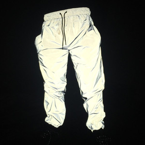Erkekler Yansıtıcı Hip Hop Pantolon Dans Diz Boyu Streetwear Harajuku Işık Parlak Gece Erkekler Joggers Yansıtıcı Pantolon