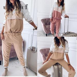 Ankle Length Pants Casual Women 'S Sports Suit Female Tracksuit Autumn Winter Sportswear Spliced Hoodies Sweatshirt SizeS-3XL