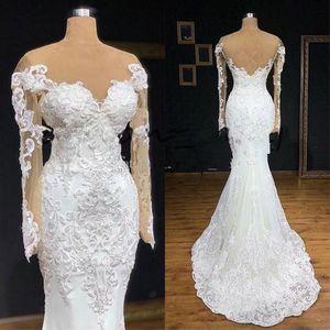 Illusion Long Sleeve Mermaid Wedding Dress 2020 Full Lace Applique Sheer Jewel Neck Plus Size Bohemian Beach Bridal Gowns Dresses veils