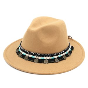New Vintage Autumn Winter Wool Panama Fedora Hat Men Women Wide Brim Top Sombrero Church Jazz Ethnic Cap