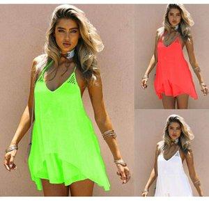 Женщины Candy Color Beach шифоновое платье ремень спагетти Сексуальные летние повседневные платья