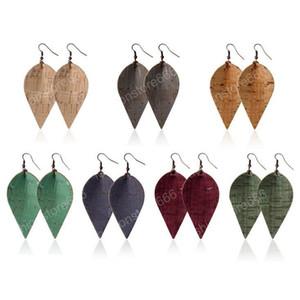 Nuovo design in pelle di legno del grano PU fascino di figura di modo degli orecchini di goccia del foglio ciondola Earrings Eardrop della signora per monili regalo