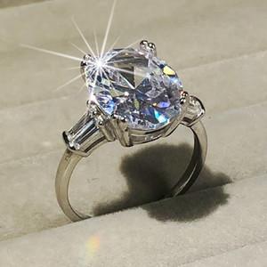 Стерлингового серебра 925 пробы овальной огранки 4ct имитация бриллиантовые кольца для женщин вечное обручальное кольцо набор бренд fine jewelry подарок