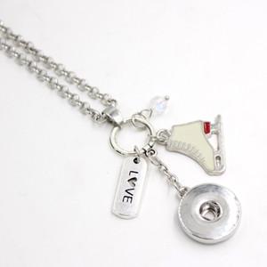 Оптовая женщины ожерелье DIY персонализированный подарок 18 мм Оснастки ювелирные изделия зима коньки кулон ожерелье Оснастки ожерелье подарки