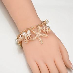 Bohemia Fashion Shell Bracelets Dangle Stars Pearl Charm Pendant Bangle Women Bracelet Beach Party Designer Jewelry Gifts