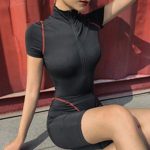 Women Jumpsuit rompers zipper short sleeve bodysuit sexy skinny overalls fashion summer clothing