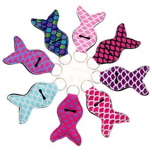 Neoprene supporto della catena chiave Chapstick Portachiavi Rossetto copertura Mermaid Tail Fish Design Portachiavi Lip Balm portachiavi Z0192