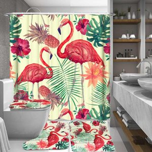 1 3 4 Pcs Flamingo Printing Waterproof Fabric Bathroom 3D Shower Curtain Set With Non Slip Toilet Cover Rugs Bath Mat Home Decor
