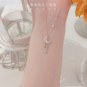 S925 gioielli in argento con il temperamento della luna della stella fata INS catena personalizzata collana clavicola per le donne femminili