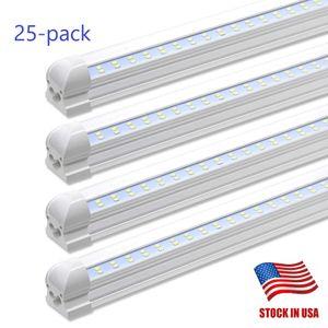 usa 25-paketinde YENİ Çift Hatları Led 4ft 8ft Entegre Tüp Işık T8 Led dükkanı Işıklar 28W 72W + stok