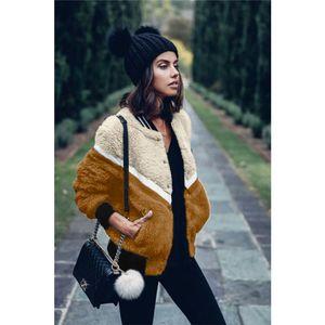 Bulanık Tasarımcı Ceket Kış Fleece Tek Breasted Uzun Kollu Sıcak Coats Moda Kontrast Renk Bayanlar ceket Womens