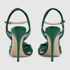 2020 sheepskin Catwalk models Lucky Classic Sexy lip Snake Open Toe wedding 10.5CM Stiletto High Heels Sandals Green 34-43