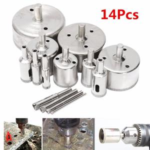 14pcs / Set Diamond Holesaw Drill Bit Outil de verre en céramique Porcelaine Marbre Trous de diamant Forets de scie