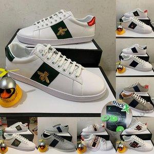 2020 Ace Luxusfreizeitschuhe Triple Black Sneakers Mann Frau Designer Wohnung Skate Bee Snake Streifen-Stern-Plattform Luxe Weinlese-Mann-Kleid-Schuh