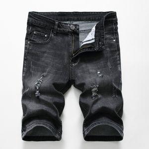 Knielange Herren Denim Short Jeans mit Reißverschluss Gerades Loch Abgenutzt Dünne Sommer Casual Style Urban Wind Pants